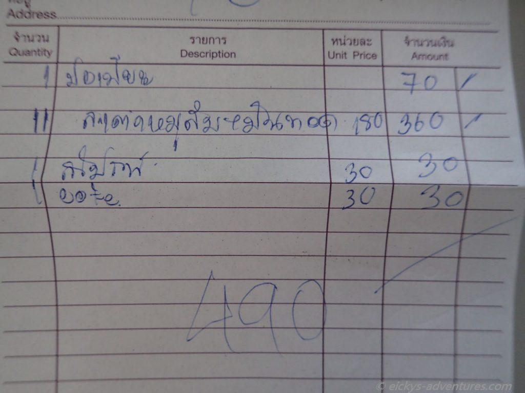 thailändische Restaurantrechnung
